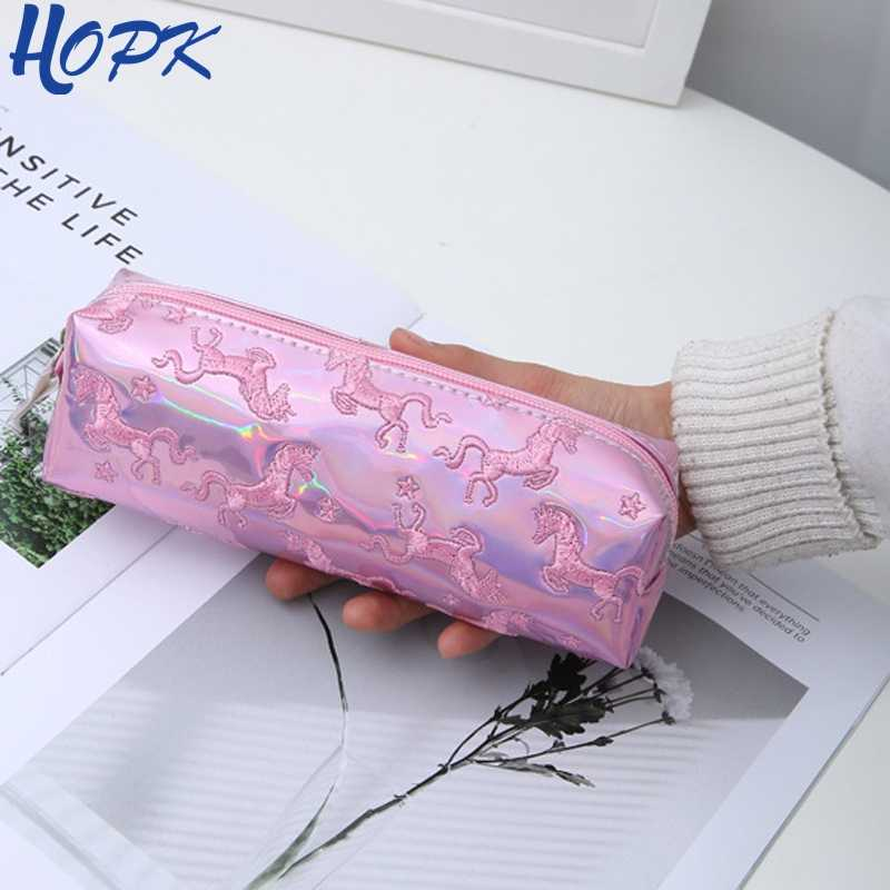 HOPK Embroidery Laser Unicorn Pencil Case School Pencil Box Makeup Pencil Bag Big School Supplies Stationery