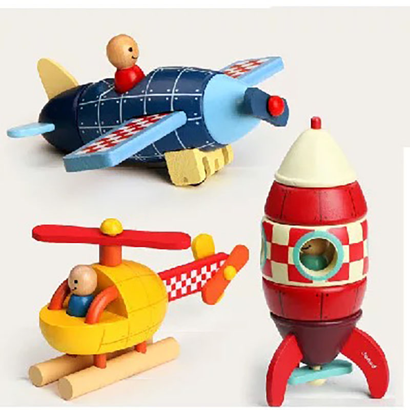Wooden Magnetic Rocket Airplane Helicopter Assembly Puzzle ...