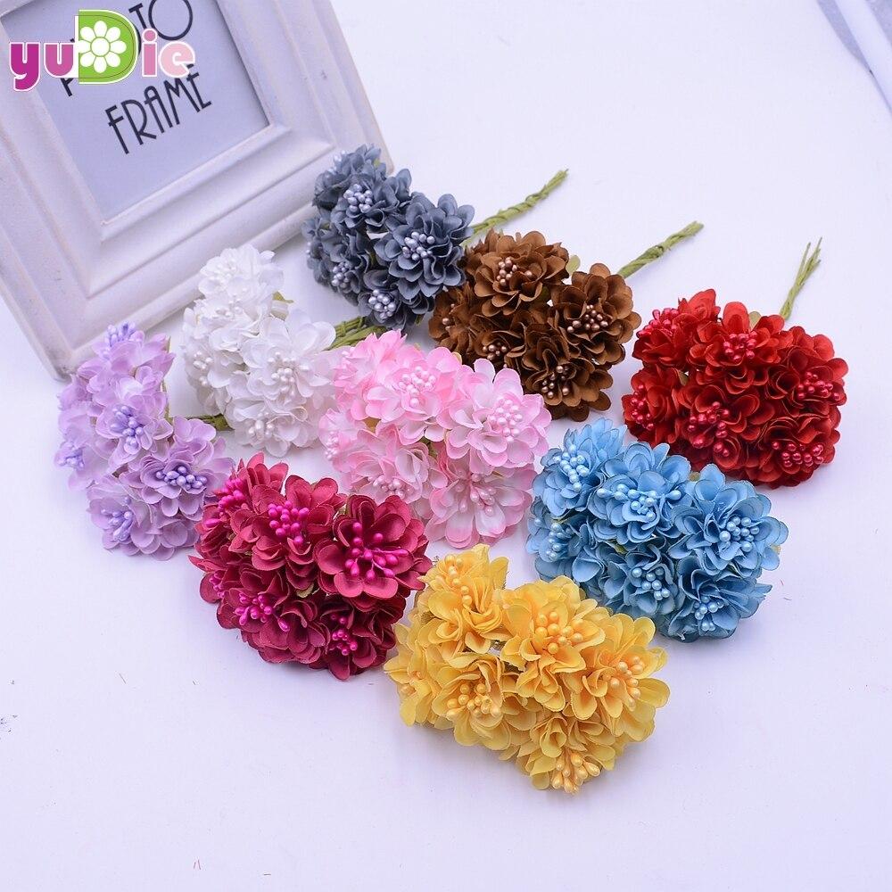 12 шт./лот мини шелк искусственный букет роз Свадебные украшения Бумага цветок для DIY Скрапбукинг цветок мяч Дешевые Флорес