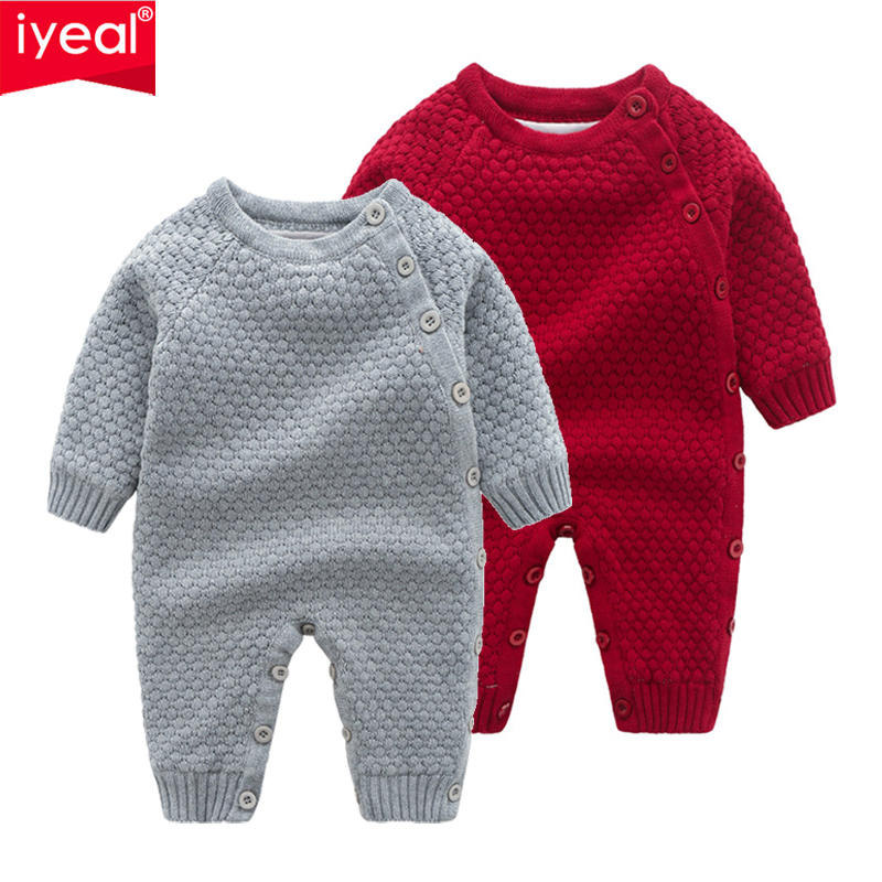 IYEAL Winter Infant Baby Girl Boy   Romper   Kids Jumpsuit Warm Inside Fleece Knitted Overalls Children Toddler Outerwear for 0-18M