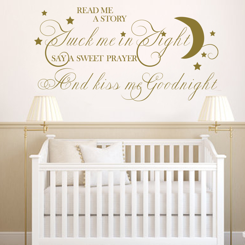 Read Me A Story Tuck Me In tight Say A Sweet Prayer And Kiss Me GoodnightChildren Room Vinyl Wall Decal56cm x109cm