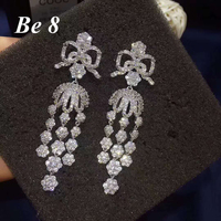 Be8 Brand Beauty Flower Shape Top Quality Cubic Zirocnia Drop Earrings White Gold Color Shiny Accessories For Women Gifts E 265
