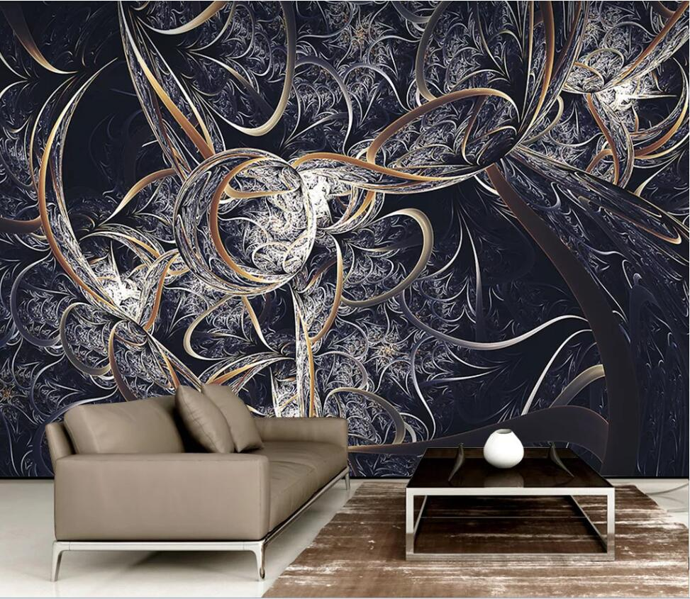 Customized Large-scale 3D Mural Wallpaper Modern Contracted Abstract Gold Silk Drawing Living Room Bedroom Background Wall