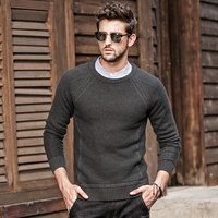 GustOmerD Autumn Winter Sweater Men Knitted Long Sleeve Solid Color Sweaters Man's Pullover O Neck Striped Sweaters Mens