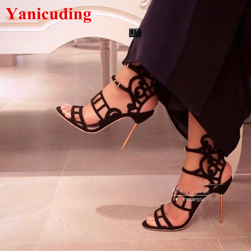 цены Suede Women Sandal Sexy High Thin Metal Heel Peep Toe Star Runway Party Wedding Dress Shoes Side Buckle Closure Zapatos Mujer