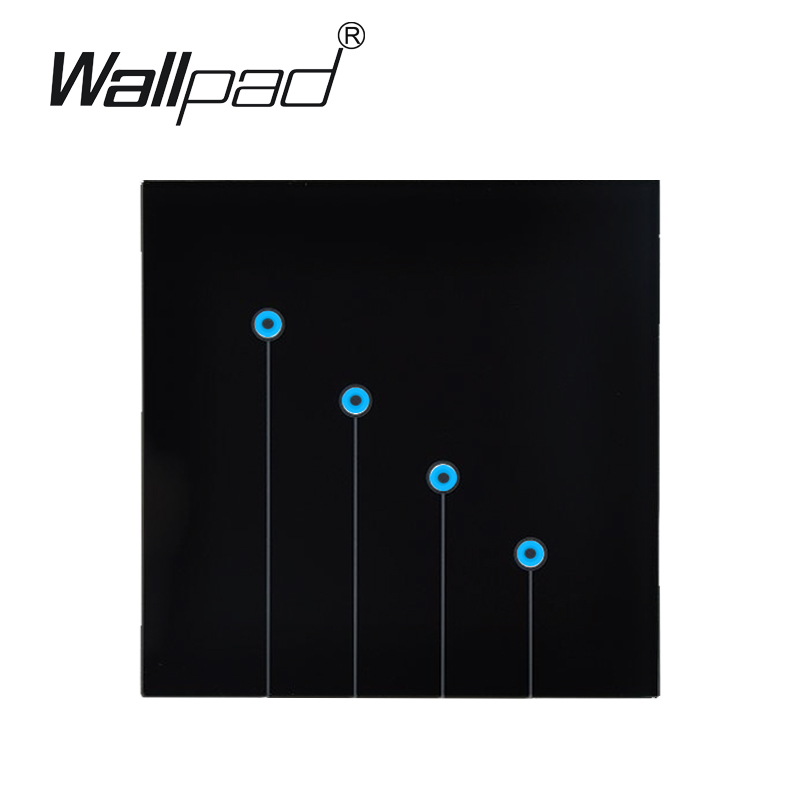Top End Tempered Glass Touch Wall switch, 4 Gangs 1 way Touch Wall Light Switch 220V, Free shipping