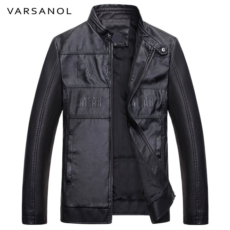 Varsanol Brand Mens Bomber Jacket Casual Pu Leather Jackets Long Sleeves Autumn Winter Men Clothes Warm Letter With Pocket Coat