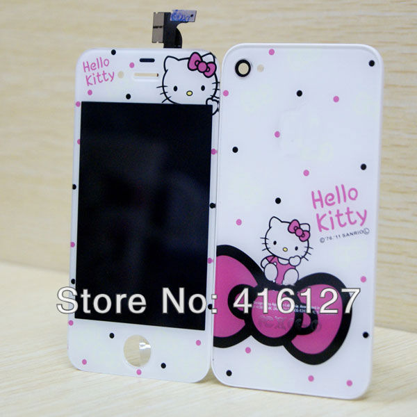 Hello Kitty Conversion Kit for iPhone 4 LCD Assembly + Back Cover Housing + Home Button