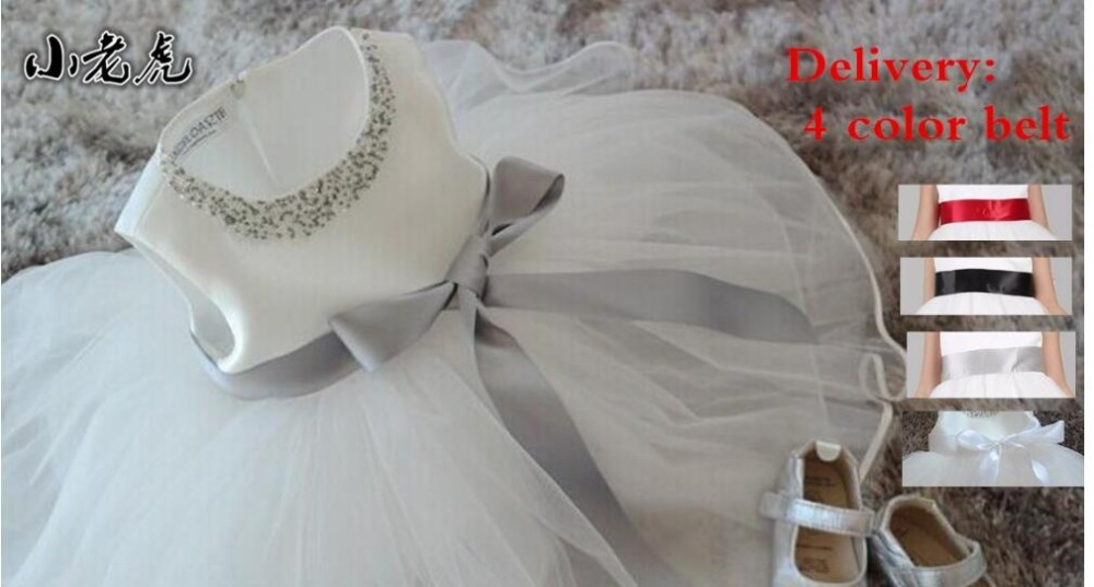 2016 New Cute Infant Baby Girls Outfits Kids Children Lace Voile Wedding Party Dresses Little Girl Clothes with 4-color belt2016 New Cute Infant Baby Girls Outfits Kids Children Lace Voile Wedding Party Dresses Little Girl Clothes with 4-color belt