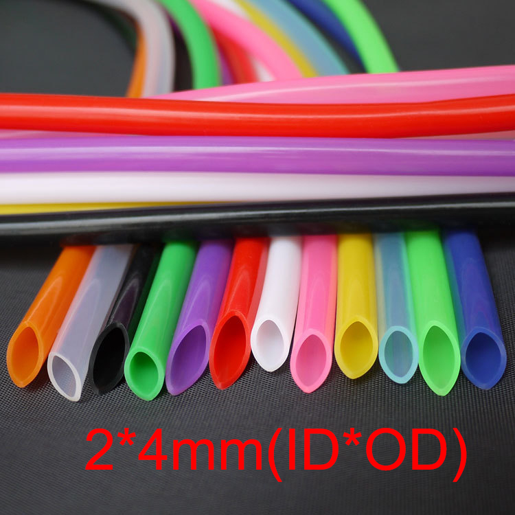 3M 2*4mm 2x4mm Blue Green Pink Clear Purple Green Medical Food Grade Drink Flexible Pipe Soft Water Hose Silicone Rubber Tube 5meters 12x18 transparent silicone rubber tube hose pipe food grade medical pipe100% virgin free shipping