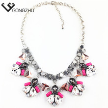 2016 European and USA Fashion flower statement necklace collar necklaces & pendants Short necklace women jewelry accessories