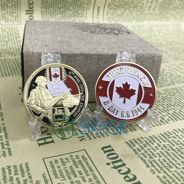 US $134 29 15% OFF|Wholesale Canada infantry division gold coins WW2 D Day  Juno Beach gold plated coin souvenir Canada commemorative coins for gift-in