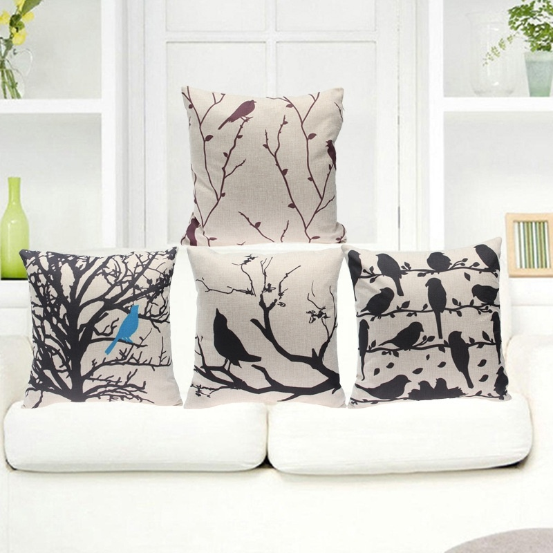 2017 Hot Sale Cuckoo Birds Cotton linen Pillow Case For office/bedroom/chair seat Cushion 18x18 inches Free Shipping