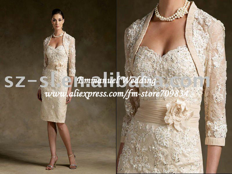 Sparkly Beading Knee Length Short Beige Lace Mother Of The