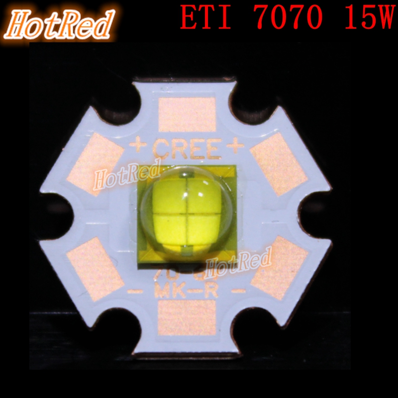 цены  1pcs ETI 7070 6V 4Chips 15W LED Emitter Diode instead of Cree MKR MCE XHP50 XHP70 Cool White LED light with 20mm Cooper PCB