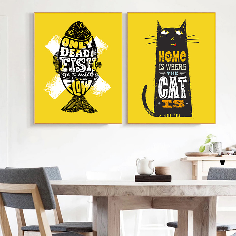 Purple And Yellow Kitchen Wall Art Unframed Kitchen: Nordic Poster Prints Black Cat Fish Qotes Wall Decor