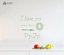 YOYOYU Vinyl Wall Decal I Love You More Than Pasta Restaurant Kitchen Interior Room Art Decoration Stickers FD420