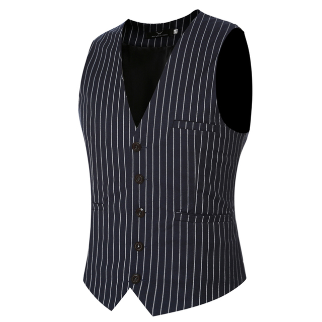 Leisure Dress Vests for Men 2016 Steampunk Clothing Men Wedding Sleeveless Stripe Jackets Groom Waistcoats Black Vests 3XL VS06
