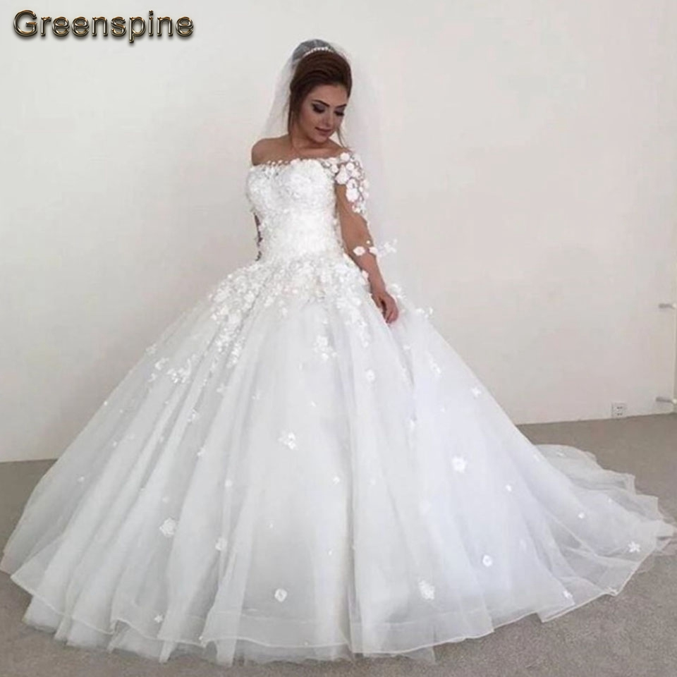 Greenspine Lebanon Wedding Gowns 2019 Robe Tulle Mariage Long Bridal Dresses 3D Flowers Appliqued Wedding Dress Half Sleeves