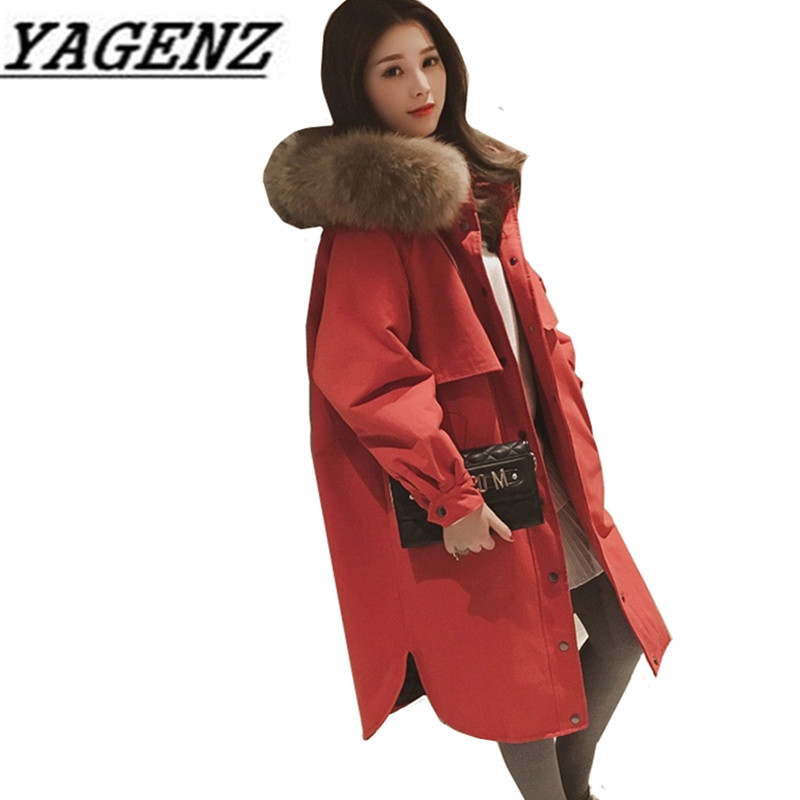 2017 Large fur collar Down cotton Jacket Women Coats Winter Loose Warm Long Outerwear Large size Female Jacket Black Red 5XL winter jacket female parkas hooded fur collar long down cotton jacket thicken warm cotton padded women coat plus size 3xl k450