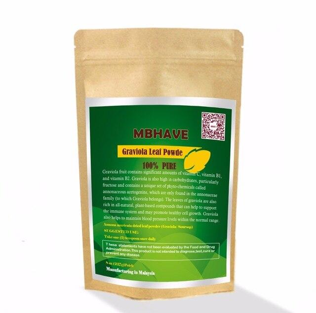 Graviola Порошок Листьев 8 унц. (Яблоко) Annona muricata-Premium Quality 100% Pure