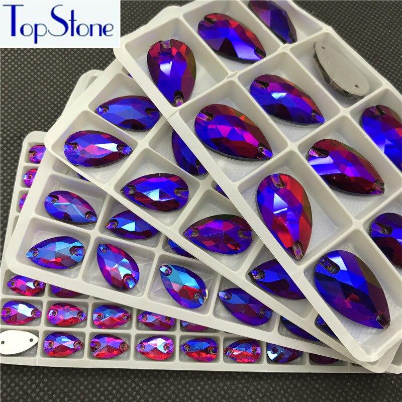 TopStone Siam Red AB Teardrop Cuce Sulle Pietre di Cristallo di Vetro Droplet Cucire Sul Rhinestone 2 Fori DIY Indumento Abito Da Fare