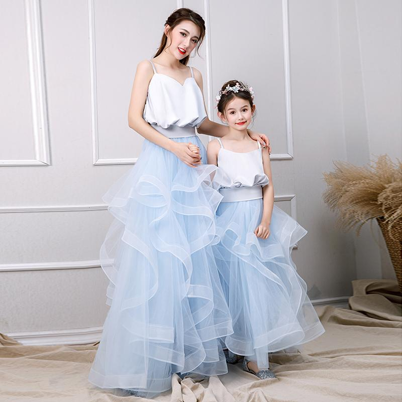 Mother Daughter Tutu Dress Girls Evening Ball Gown Formal Wear Mom and Me Tulle Wedding Dress Suspender Family Matching Outfits