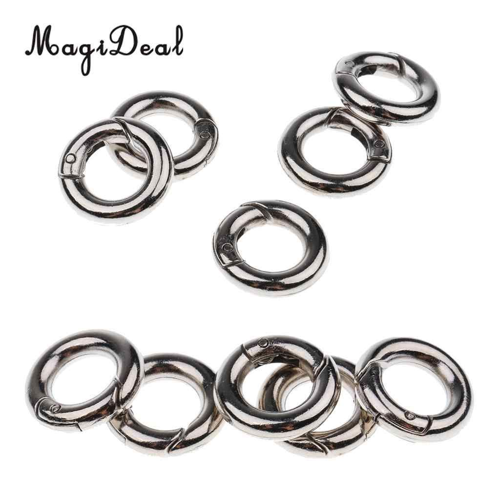 20mm 10pcs Zinc Alloy Round Spring Snap Open Hook Key Chain Carabiner 15mm