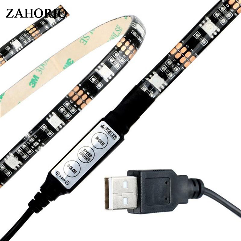 RGB USB LED Strip 5050 50CM 1M 2M IP20 No waterproof IP65 Waterproof Flexible Tape for TV Background Lighting 3key Controller