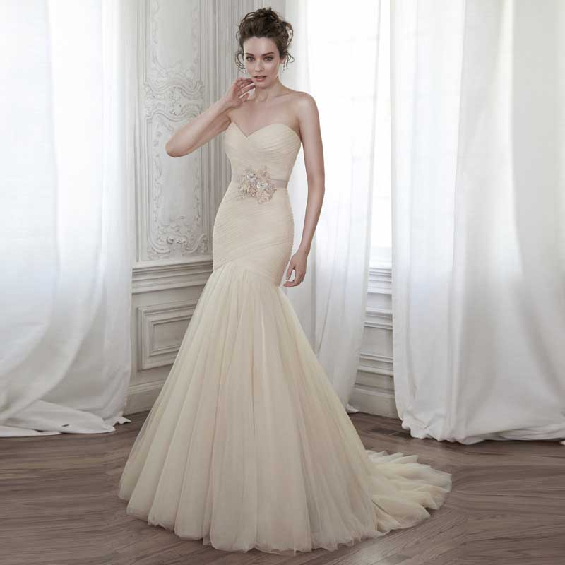 Wedding Gowns With Sashes: 2016 New Fashion Tulle Sweetheart Off The Shoulder Pleat