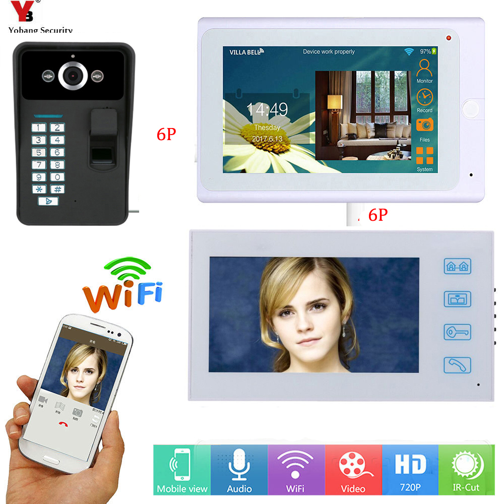 YobangSecurity White 7Inch Monitor Wifi Wireless Video Door Phone Doorbell Camera Intercom System With Fingerprint RFID Password