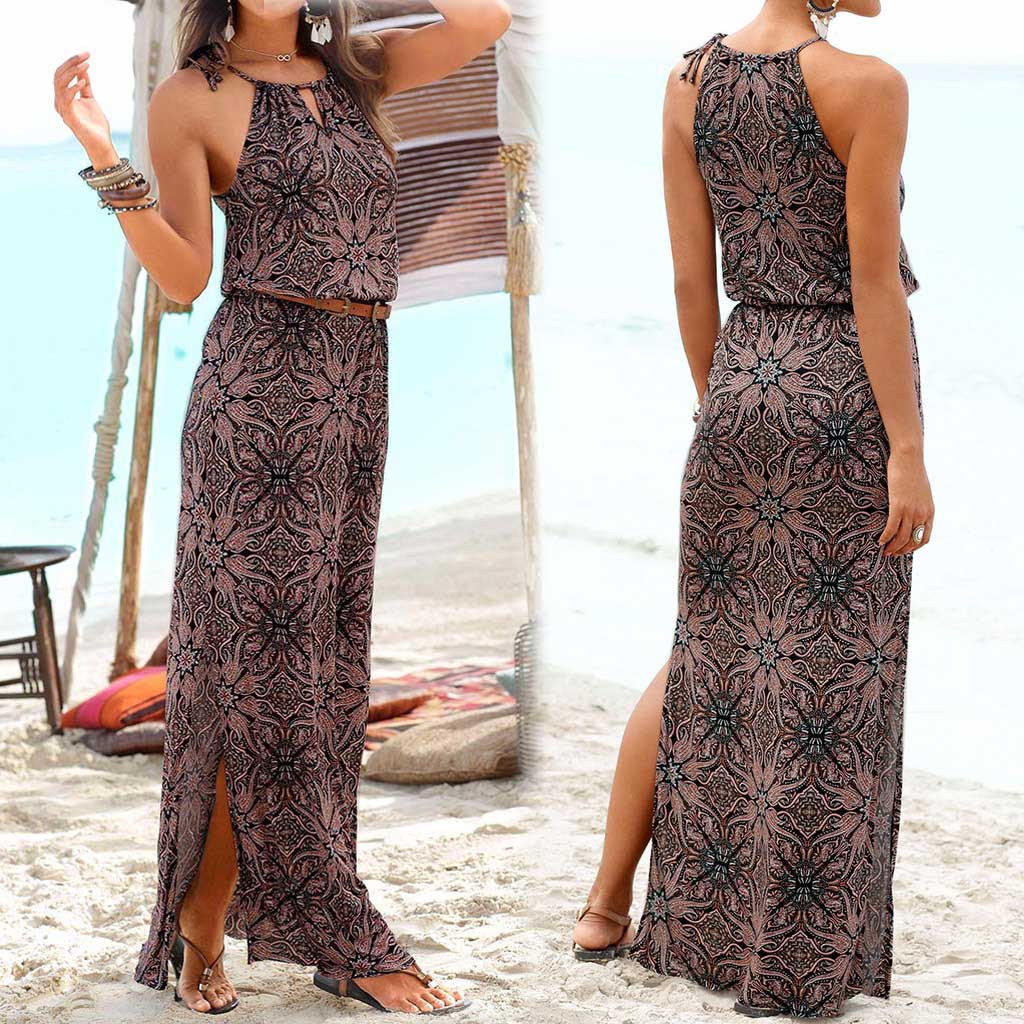 2020 Summer Women Dress Sexy Halter Vintage Bohemian Sleeveless Printed Leather Sashes Ankle Length Party New dress#G3