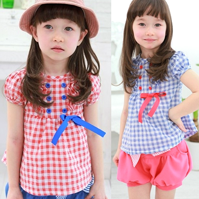 2016 summer fashion girls puff short-sleeve plaid shirt 100% cotton casual child baby blouses for girls 1f-2