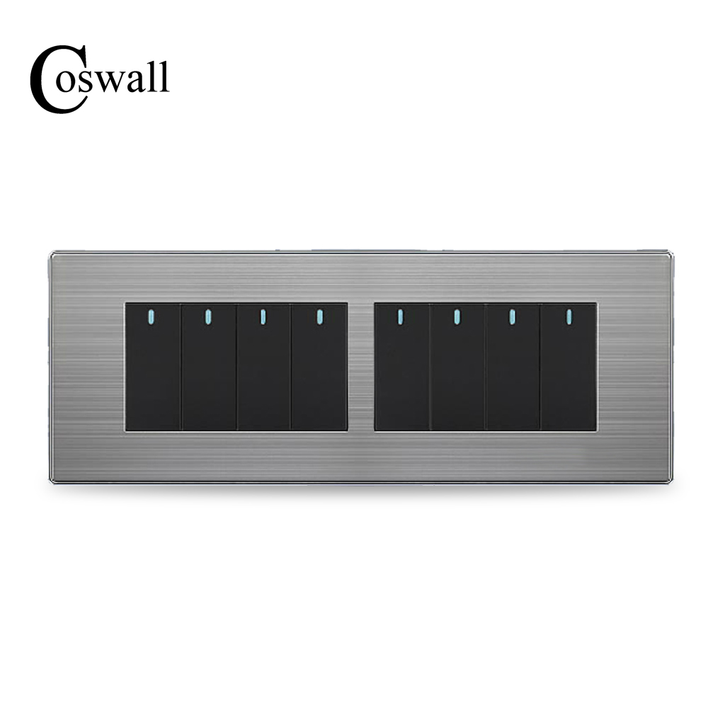 Coswall 8 Gang 2 Way Luxury Light Switch Push Button Wall