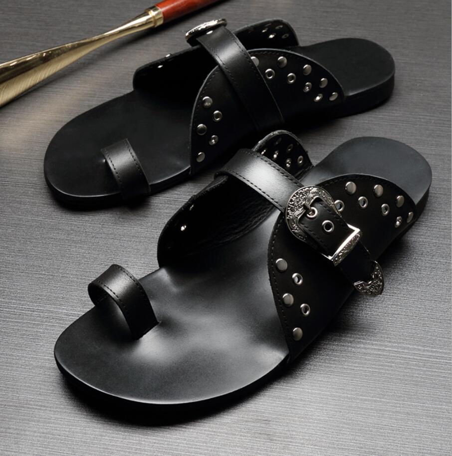 Studs Mens Genuine Leather Cool Sandals Flats 2018 Black Sandals Flip Flops Genuine Leather Man Casual Slippers Shoes Size43