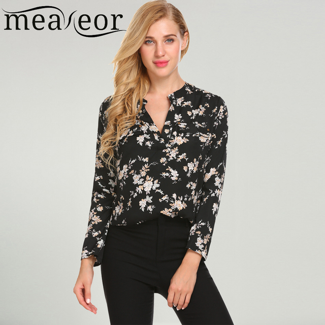 4fc651c96 Meaneor Vintage Blouse Women Roll-Up Cuffed Sleeve Shirts Floral Print  Asymmetrical Blouses Casual V Neck Long Sleeve Blusas