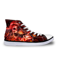 Noisydesigns Hot Sale Men Vulcanize Shoes Fashion Breathable Cool Ghost Rider Shoe For Man Classic Skull High Top Canvas Shoes