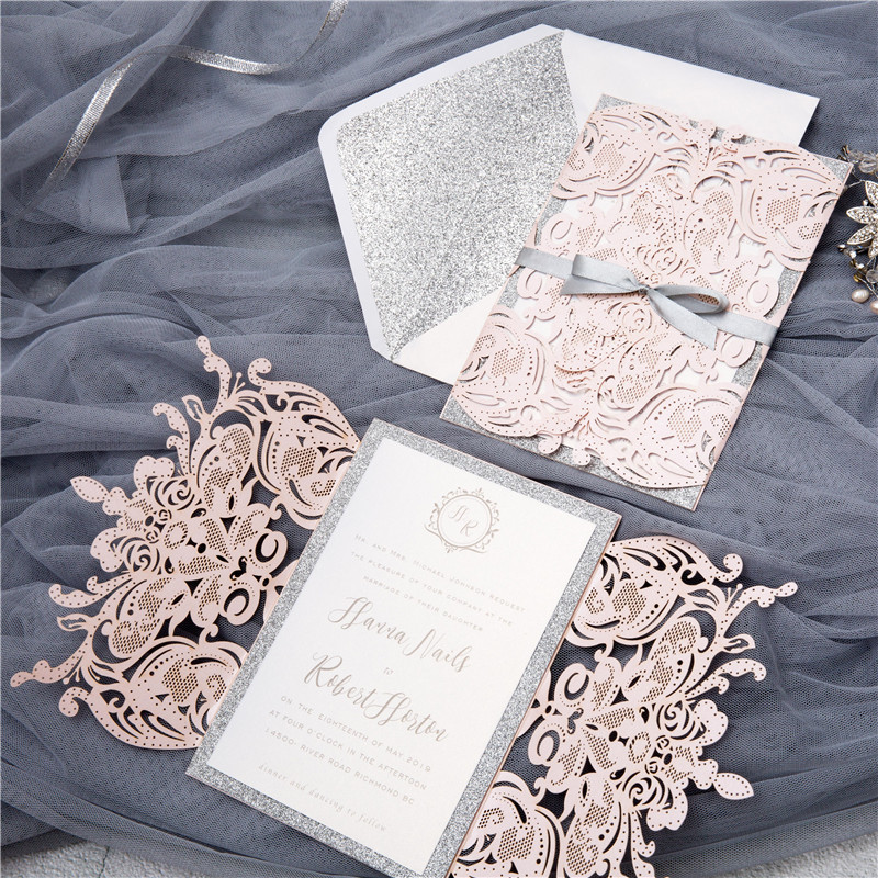 (50 Pieces/lot) European High-end Pink Wedding Invitation Card Laser Cut Floral Glittering Engagement Baptism Invitations IC120P