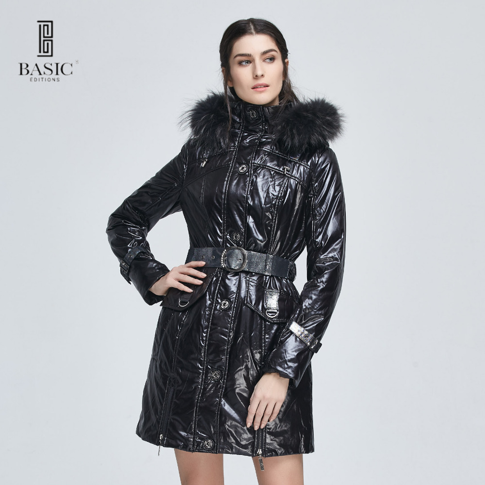 Basic Editions Women Winter Slim Fit Belt Fur Hood Cotton Coat Jacket - M0847 basic editions fall winter brown metallic silk fabric cotton coat with rabbit fur collar with belt covered button 7001d11