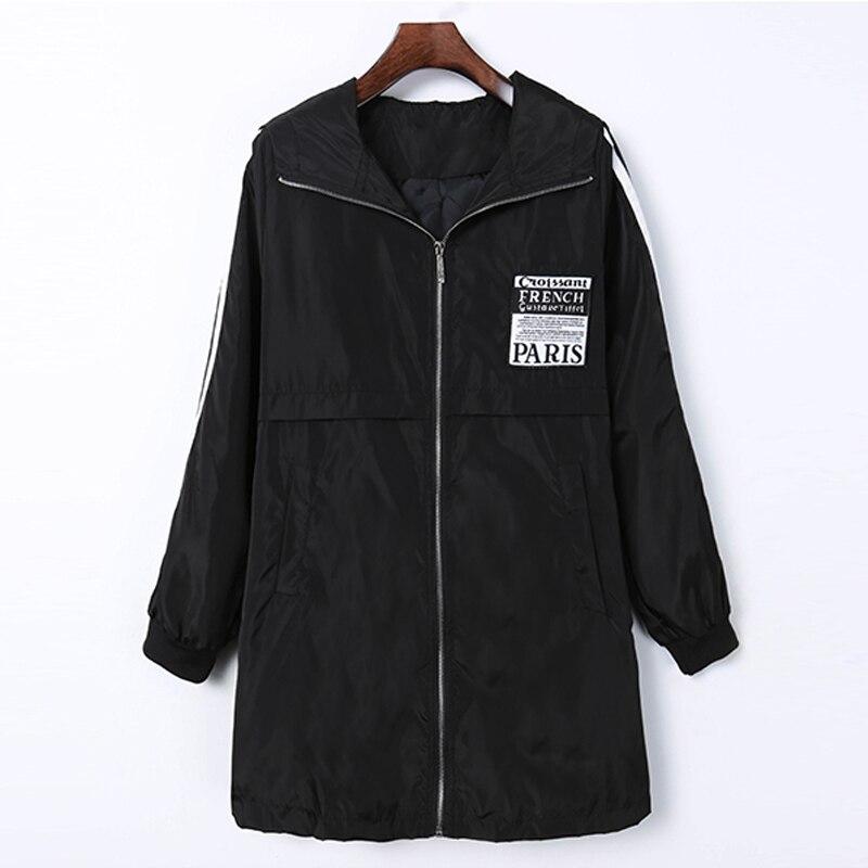 Spring Autumn Women s Windbreaker Leisure Zipper Trench Hooded Streetwear Female Midi Pattern Loose Coat Big