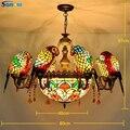SGROW Glasmalerei 6/8 Papagei Vögel Anhänger Lichter Hand-made Tiffany Kunst Hängen Lampe Innen Leuchten für Wohnzimmer zimmer