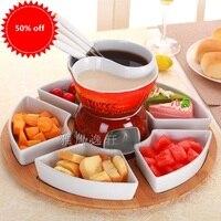 free shipping 2GRID fondue pot set Ceramic chocolate cooking pot icecream chafing dish cheese fondue hotpot romance home *