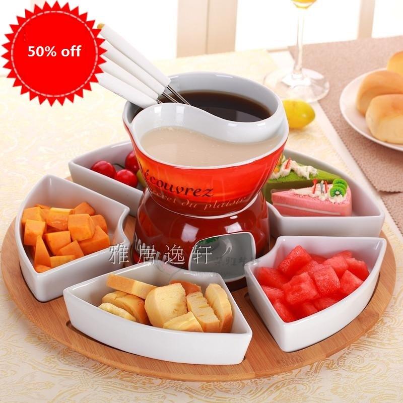 Free Shipping 2grid Fondue Pot Set Ceramic Chocolate