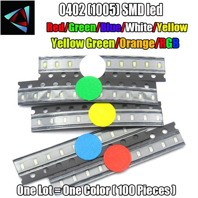 Светодиодный светильник SMD, 100 шт., 0402 smd, красный, желтый, синий, зеленый, белый, теплый белый, 0 диапазона, фиолетовый, RGB, 1,0*0,5*0,4 мм, 1005