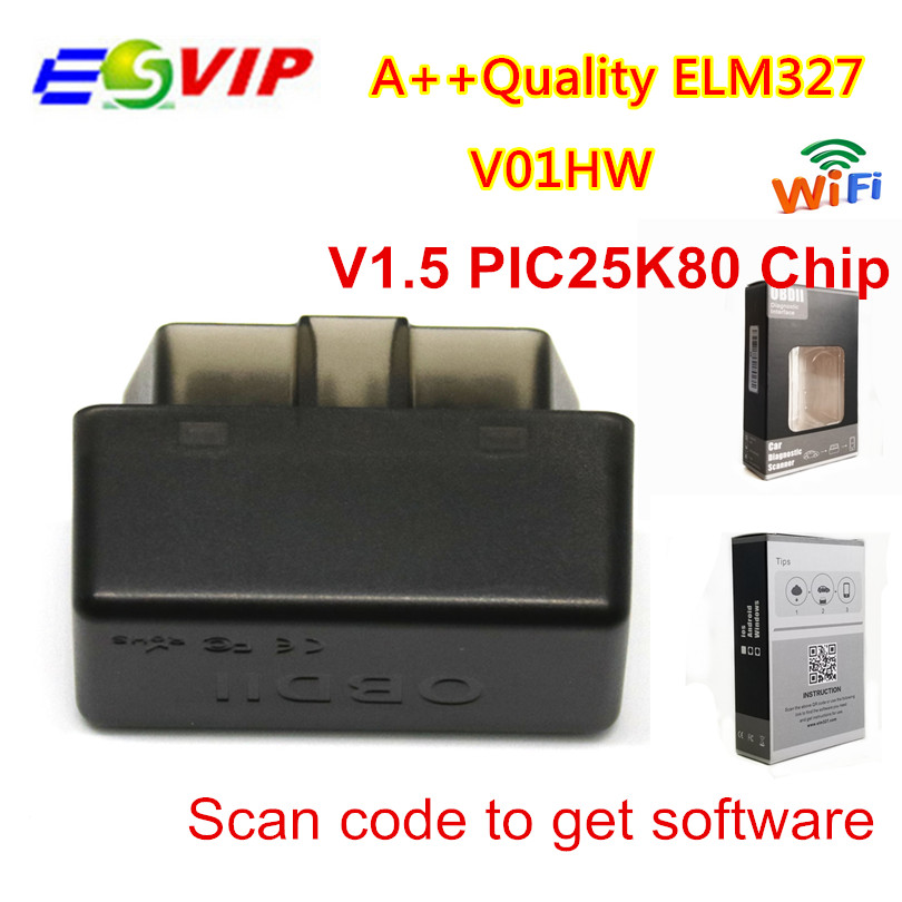 50 шт. DHL elm327 1,5 V01HW OBD2 стайлинга автомобилей диагностики неисправностей elm 327 v1.5 инструмент обновлен Wi-Fi V1.5 + PIC25k80 чип OBD код сканер