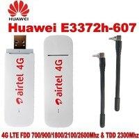 Открыл huawei 4 г USB модем E3372 E3372h-607 LTE 150 Мбит/с Dongle USB Stick Datacard плюс с 2 шт. антенны