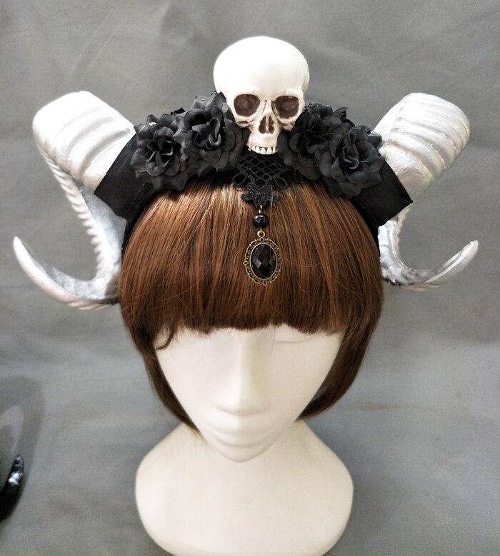 Handmade Steampunk Skull Flowers Horns Headband Female Floral Antler Halloween Headdress Hair Accessory Goth