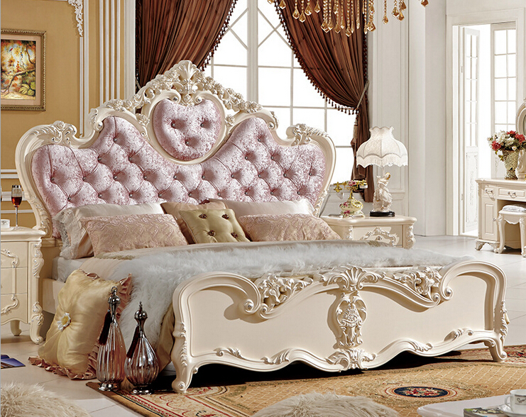 Classical pink wood double bed designs in beds from for Double bed designs in wood