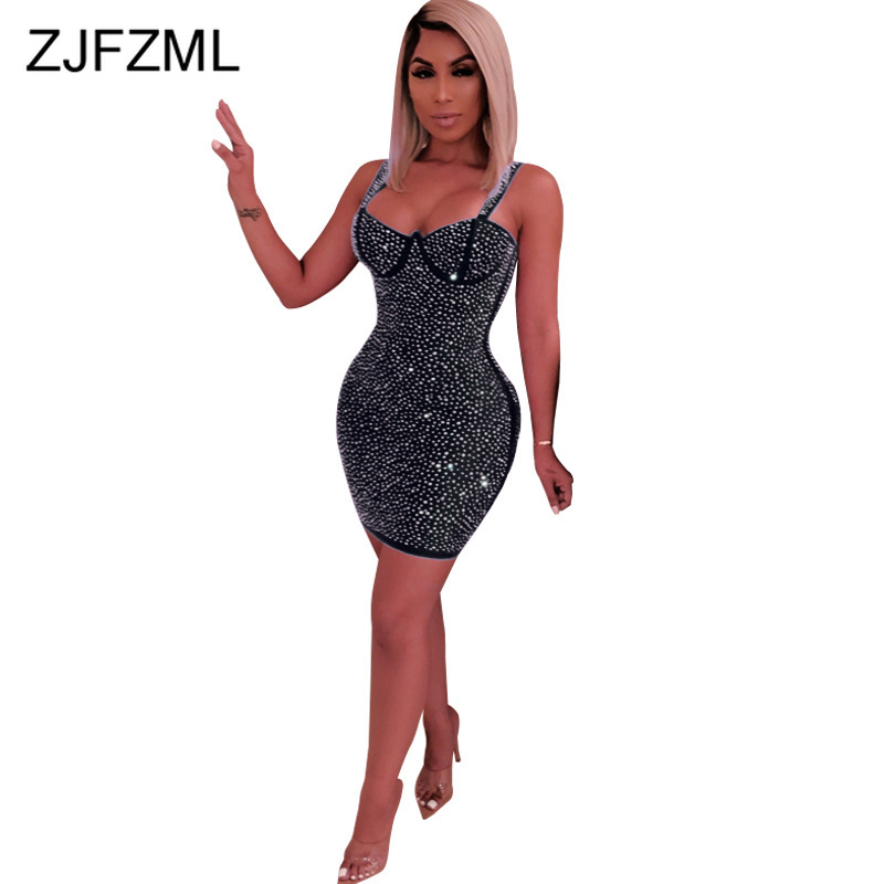 Glitter Rhinestones Sexy Party Dress Women Spaghetti Strap Sleeveless Bodycon Dress Elegant Strapless Backless Package Hip Dress