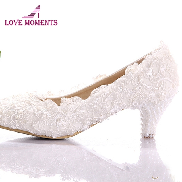 White Lace Low Heel Wedding Bridal Shoes Kitten Heel Bridesmaid Shoes  Elegant Party Embellish Prom Shoes